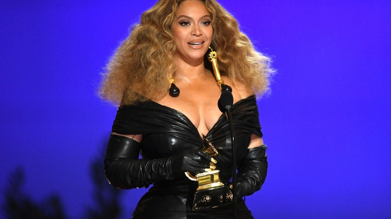 "Beyoncé accepts the Best Performance award for ""Black Parade"" onstage during the 63rd Annual Grammy Awards at Los Angeles Convention Center on March 14, 2021 in Los Angeles, Calif. (Kevin Winter/Getty Images)"