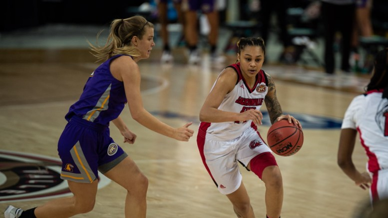 Junior guard Yamia Johnson defends the ball in last Thursday's OVC tournament versus Tennessee Tech. (Courtesy of JSU)