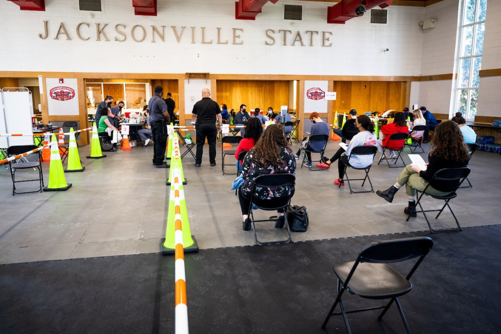 Jacksonville State University recently acquired several hundred doses of Moderna's COVID-19 vaccine. Vaccines were distributed in Kennamer Hall on March 29 and April 1. (Matt Reynolds/JSU)