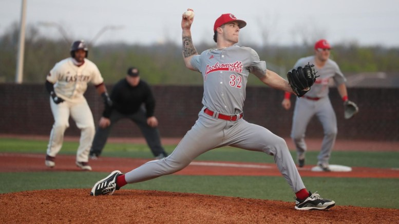 Christian Edwards struck out ten in game one against Eastern Kentucky. (Courtesy of JSU)