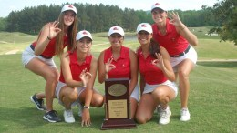 The JSU women's golf team takes home OVC trophy after record-setting performance at conference tournament. (Courtesy of JSU)